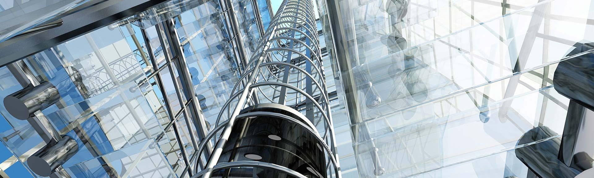 Winda wewnątrz futurystycznego budynku